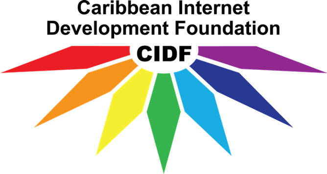 The Caribbean Internet Development Foundation's logo which consists of the title followed but the initials surrounded by stretched diamond shapes in the colours of the rainbow.